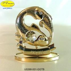SEGNO ZODIACALE - PESCI GOLD - cm. 7x7 - Elementi SWAROVSKI