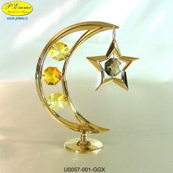 LUNA GOLD WITH STAR - 10 cm x 8 - Swarovski Elements