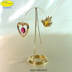 HEART AND DOVE REVOLVING STAND GOLD - cm. 12x15- elements SWAROVSKI