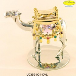 CAMEL SILVER SADDLE WITH GOLD METAL APPLICATIONS WITH SWAROVSKI CRYSTAL - Cm. 10 x 8