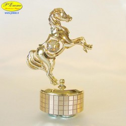 HORSE RAMPANTE ON REVOLVING BASE MUSIC GOLD - Cm. 12 x 8 - Elements SWAROVSK