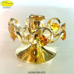 CANDLESTICK 1 FLAME MEDIUM GOLD - cm. 7x9 - Swarovski Elements