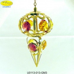 ICICLE GOLD PENDANT METAL WITH APPLICATIONS SWAROVSKI CRYSTAL - Cm. 10 x 6