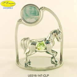 HORSE SILVER WITH SMALL METAL FRAME WITH APPLICATIONS SWAROVSKI CRYSTAL - Cm. 11 x 9