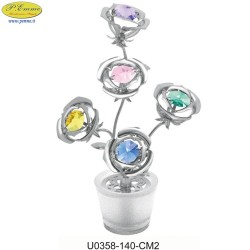 FIVE ROSE WITH SILVER VASE WITH APPLICATIONS SATIN SWAROVSKI CRYSTAL - Cm. 14 x 8