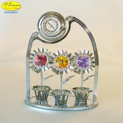 TRIS FLOWERS CLOCK WITH SILVER - Cm. 11.5 x 9 - Swarovski Elements