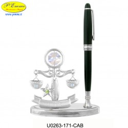 SCALE WITH PEN ON BASE DELUXE SILVER - cm.16x11 - Swarovski Elements