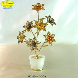SATIN GOLD VASE WITH FLOWERS 7 - cm. 17 x 11 - Swarovski Elements