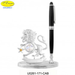 LION WITH PEN ON BASE DELUXE SILVER - cm.16x11 - Swarovski Elements