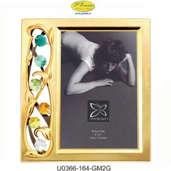 GOLDEN PHOTO FRAME VERTICAL 10X15 APPLICATIONS WITH SWAROVSKI CRYSTAL - Cm. 17.5 x 15.5