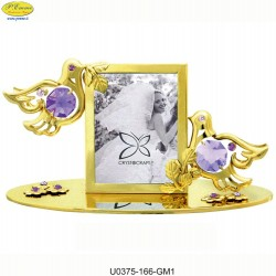 FRAME WITH DOVES DECORATED WITH APPLICATIONS SWAROVSKI CRYSTAL - Cm. 12 x 6.5