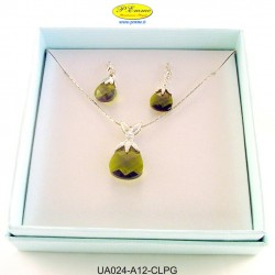 NECKLACE WITH CRYSTAL EARRINGS PERIDOT APPLICATIONS WITH SWAROVSKI CRYSTAL