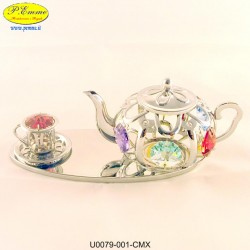 TEA POT WITH CUP SILVER WITH SWAROVSKI CRYSTAL APPLICATIONS - Cm. 12 x 5