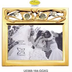 FRAME HORIZONTAL GOLDEN WEDDING PHOTO 10X15 APPLICATIONS WITH SWAROVSKI CRYSTAL - Cm. 17.5 x 15.5