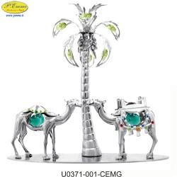 CAMELS COUPLE WITH PALM ARGENT. - Swarovski Elements