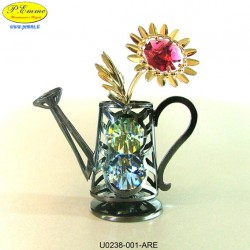 ANTIQUE WATERING CAN WITH DAISY - cm. 8x7 - Swarovski Elements