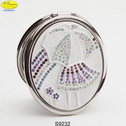 Specchietto Bimba/Ombrello argentato con Strass Sw. - D.cm.6,5