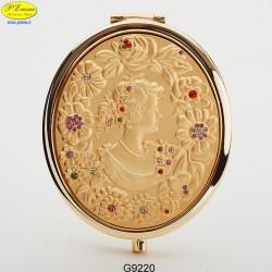 Specchietto Dama dorato con Strass Sw. - D.cm.6,5
