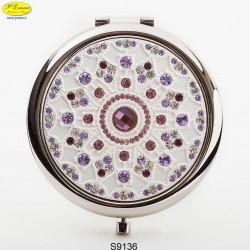 Specchietto argentato con Strass Sw. - D.cm.6,5