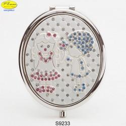 Specchietto Bimbi argentato con Strass Sw. - D.cm.6,5