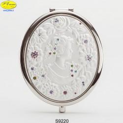 Specchietto Dama argentato con Strass Sw. - D.cm.6,5