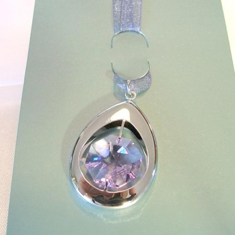 SILVER BOOKMARK. cm.4 X 2.5 (pendant) - Swarovski Elements