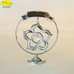 FLOWER 25th ANNIVERSARY SILVER - Cm. 8.5 x 7 - Swarovski Elements