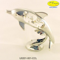 DOLPHIN ARG. WITH CRYSTAL EYES - Swarovski Elements