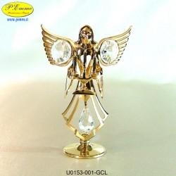 ANGELO CON CANDELIERE GOLD - cm. 9x7 - Elementi SWAROVSKI