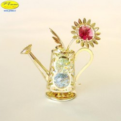 WATERING CAN WITH FLOWER GOLD - Cm. 8.5 x 8 - Swarovski Elements