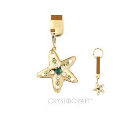 KEY RING WITH GOLDEN STARFISH - Swarovski Elements