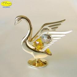 SWAN GOLD - Cm. 9 x 8 - Swarovski Elements