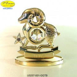 Zodiac sign - ARIES GOLD - cm. 8 x 6 - Swarovski Elements