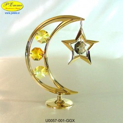 LUNA GOLD WITH STAR - 10 cm x 8 - Swarovski Elements