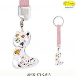 Keychain KITTEN WITH SILVER - Swarovski Elements