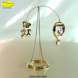 BEAR AND BALLOON REVOLVING STAND GOLD - cm. 15x3 - Swarovski Elements