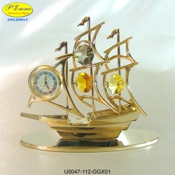 SAIL WITH GOLD WATCH - cm.11x10 - Swarovski Elements