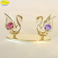 COUPLE OF SWANS GOLD- Cm. 11 x 6 - Swarovski Elements