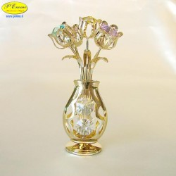 5 GOLD VASE WITH TULIPS - Cm. 11 x 6,5- elements SWAROVSKI
