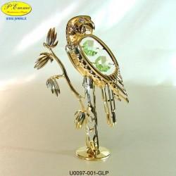 LARGE PARROT ON BODY GOLD - cm.13x8- elements SWAROVSKI