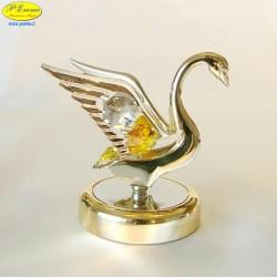CIGNO SU BASE DELUXE GOLD - Cm. 9,5 x 8,5- Elementi SWAROVSKI