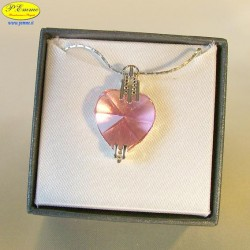 PINK SILVER NECKLACE - cm. 2.5 X 2 (Pendant) - Swarovski Elements