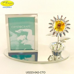 SILVER FLOWER POT WITH METAL FRAME WITH APPLICATIONS SWAROVSKI CRYSTAL - Cm. 10 x 6