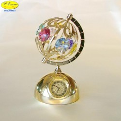 WORLD MAP WITH GOLD WATCH - Cm. 9 x 6- elements SWAROVSKI