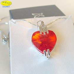 RED NECKLACE - cm. 2.5 X 2 (Pendant) - Swarovski Elements