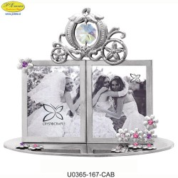SILVER FRAME WITH DOUBLE CAB APPLICATIONS WITH SWAROVSKI CRYSTAL - Cm. 14 x 8