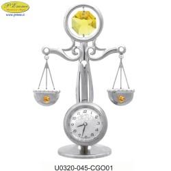BILANCIA CON OROLOGIO ARGENTATA CON APPLICAZIONI CRISTALLO SWAROVSKI - Cm. 7,5 x 6