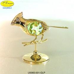 CARDELLINO SU RAMO GOLD - cm. 7x8 - Elementi SWAROVSKI