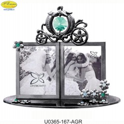 DOUBLE FRAME CHROME C / CAB APPLICATIONS WITH SWAROVSKI CRYSTAL - Cm. 12 x 9.5