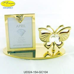 BUTTERFLY FRAME WITH GOLDEN METAL APPLICATIONS WITH SWAROVSKI CRYSTAL - Cm. 10 x 6